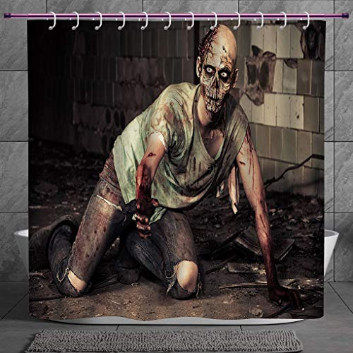 SCOCICI Unique Shower Curtain 2.0 [ Zombie Decor,Halloween Scary Dead Man in Old Building with Bloody Head Nightmare Theme,Grey Mint Peach ] Machine Washable,Shower Hooks are Included