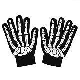 Halloween Black Cotton Glow in the Dark Skeleton Gloves - One Size