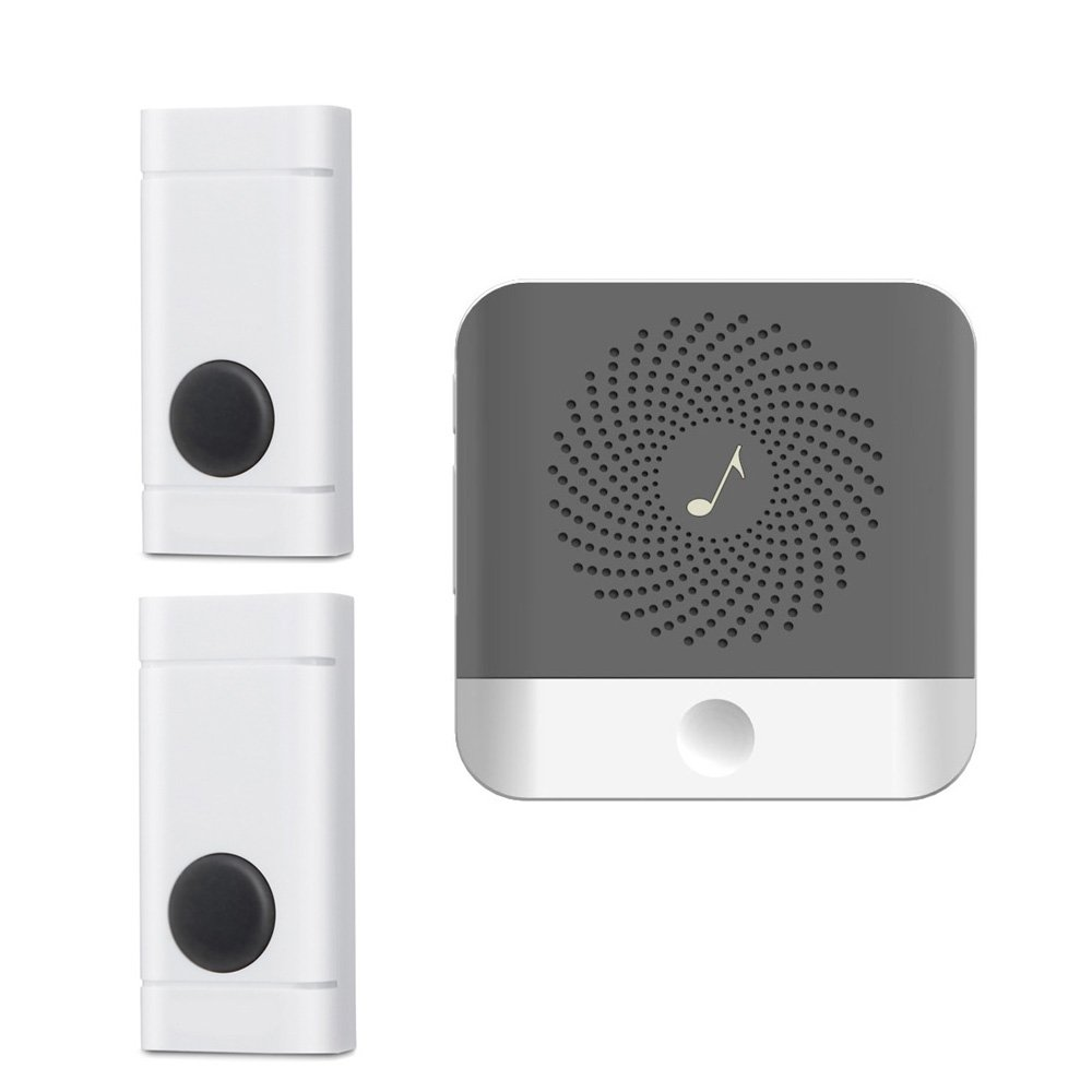 Wireless Doorbell Plug in Receiver with 2 Remote Push Button Waterproof for Home, Operating Range 500-1000 Feet, 52 Chimes 4 Level Adjustable Volume and LED Flash