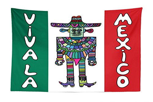 Mexican Furniture Bedroom (Lunarable Mexican Tapestry, Mexican Robot with Sombrero and Poncho on Mexican Flag Colored Background Print, Fabric Wall Hanging Decor for Bedroom Living Room Dorm, 45 W X 30 L inches, Multicolor)