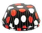 Fox Run 572574-6899 6899 Polka Dot Bake Cups, Standard, Black with Red