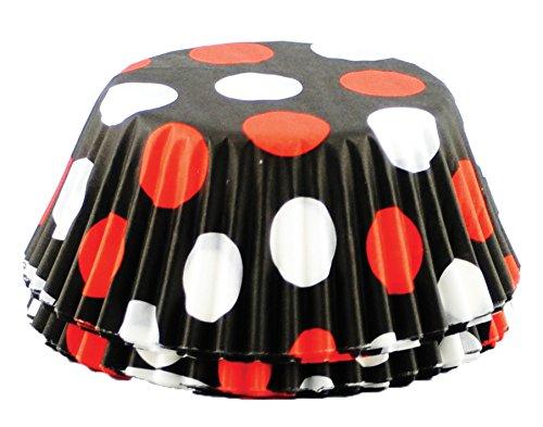 Fox Run 6899 Polka Dot Bake Cups, Standard, 50 Cups, Black with (Polka Dot Cupcake Liners)