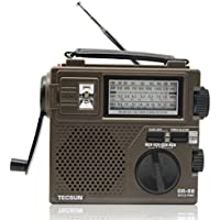 Niceshop Brand New GR-88 FM/MW/SW Full Band Radio Receiver Digital Radio Receiver Emergency Light Radio Dynamo Radio with Built-In Speaker Flashlight Manual Hand Power Generation Radio-(Brown Color)