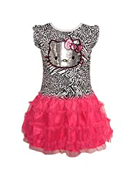 Hello Kitty Little Girls Pink Black Sequin Animal Print Ruffled Dress 4-6X
