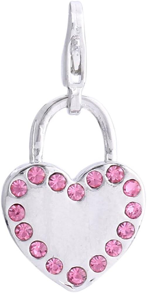 Morella Colgante Charms corazón Adornado con Piedras de circonita de Color Rosa
