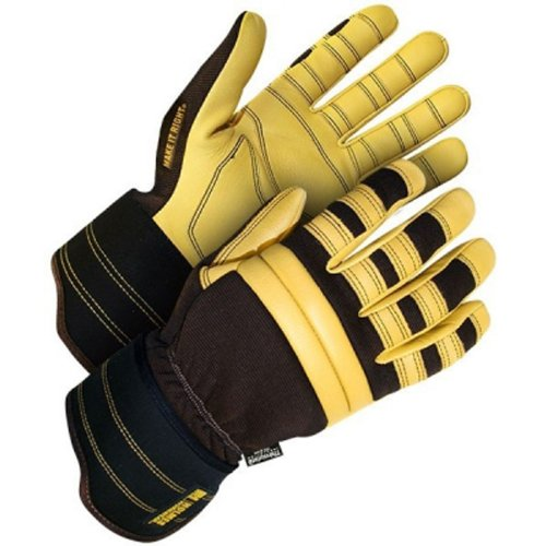 2L Holmes Program Leather Crossover Glove with C-100 3M Thiosulfate Lining, 2X-Large, Black/Yellow ()