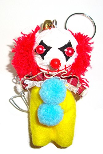 PENNYWISE DANCING CLOWN VOODOO STRING DOLL HANDMADE HANDCRAFT KEYCHAIN KEYRING