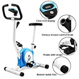 Goplus Upright Exercise Bike Magnetic Stationary Cycling Fitness Cardio Aerobic Equipment (White + Blue)