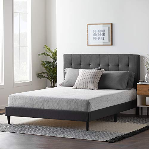 LUCID Upholstered Bed withSquare TuftedHeadboard-Linen Inspired Fabric -Sturdy Wood Build -No Box Spring Required Platform, Twin, Charcoal