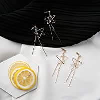 S long section of hollow three-dimensional five-pointed star temperament tassel earrings gold earrings silver 338