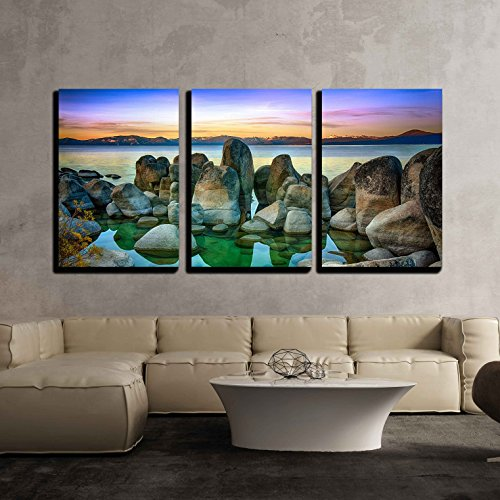 Art California Print (wall26 - 3 Piece Canvas Wall Art - Rocks in a Lake, Lake Tahoe, Sierra Nevada, California, Usa - Modern Home Decor Stretched and Framed Ready to Hang - 16