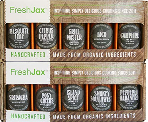 (FreshJax Gourmet Spice Gift Set, Meat Steak Lover Seasonings Sampler (10 pack))