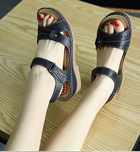 Women's Comfy Platform Wedge Sandals Heels Aisun Black fSdqvxSP