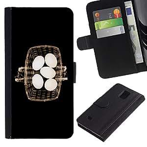 LASTONE PHONE CASE / Lujo Billetera de Cuero Caso del tirón Titular de la tarjeta Flip Carcasa Funda para Samsung Galaxy Note 4 SM-N910 / Basket Eggs