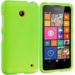 Accessory Planet(TM) Neon Green Hard Snap-On Matte Rubberized Case Cover Accessory for Nokia Lumia 630 635