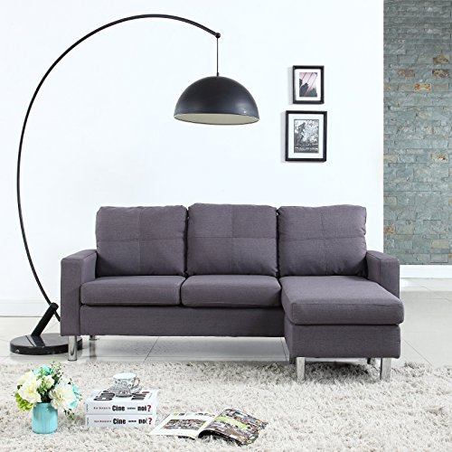 Modern Small Space Reversible Linen Fabric Sectional Sofa in Color Light Grey, Dark Grey, Beige, Red (Dark -
