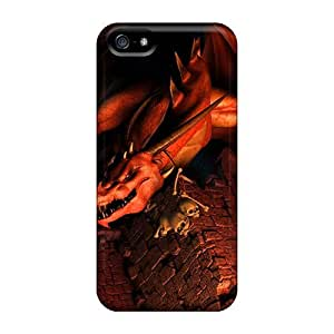 New Premium Flip Case Cover Red Dragon Skin Case For Iphone 5/5s