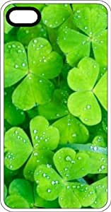 Irish Shamrock Lucky Green Clovers White Rubber Case for Apple iPhone 5 or iPhone 5s