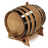 make alcohol - 3 Liter Whiskey Oak Barrel for Aging – Golden Oak Barrel with Black Steel Hoops – Aging and Recipes Digital Guide included