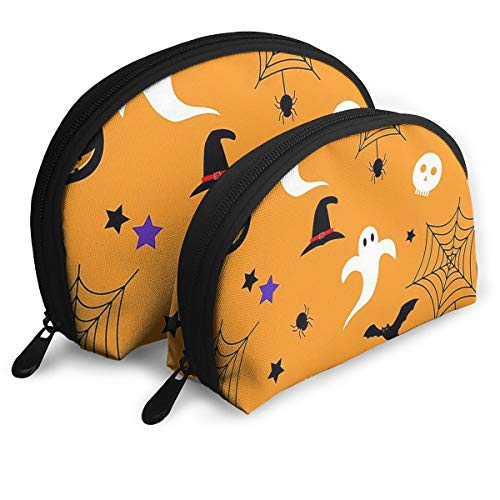 Happy Halloween Cosmetic Bag - 2 Piece Set Makeup Travel Pencil Pen Case Storage Portable -