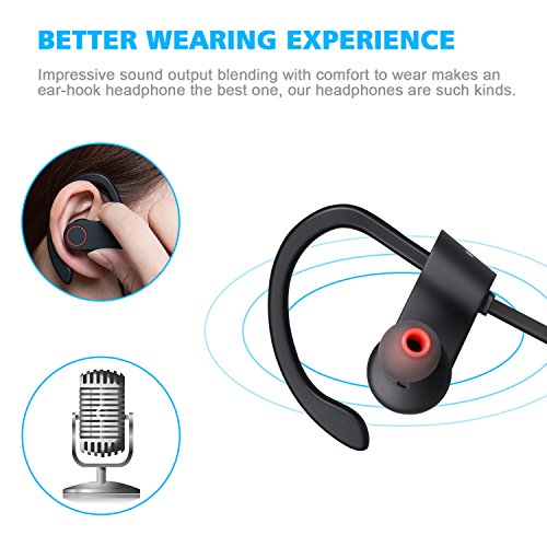 amoner wireless headphones bluetooth v4 1 wireless sports earbuds sweatproof in ear headsets. Black Bedroom Furniture Sets. Home Design Ideas