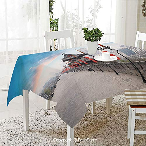 FashSam Tablecloths 3D Print Cover Old Tower on City Wall Xian City at Dusk Asian Landscape Image Party Home Kitchen Restaurant Decorations(W60 -