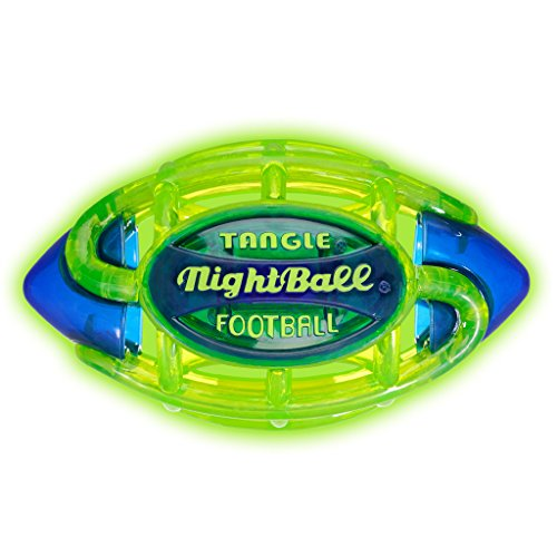 Tangle NightBall Glow in the Dark Light Up LED Football - Small (Green with (Led Light Up Football)