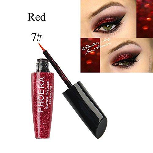 MEIQING Shimmer Glitter Eyeshadow Sequins Liquid Bling Eyeliner Highlighter Power Make Up Set (Red)