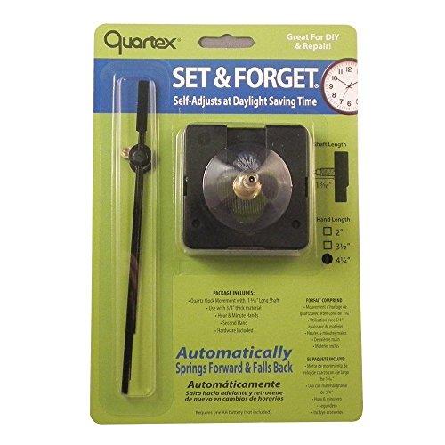 Quartex Set & Forget Clock Movement Set (3/4 Max Dial Thickness, Black, 3 1/2 Hands)