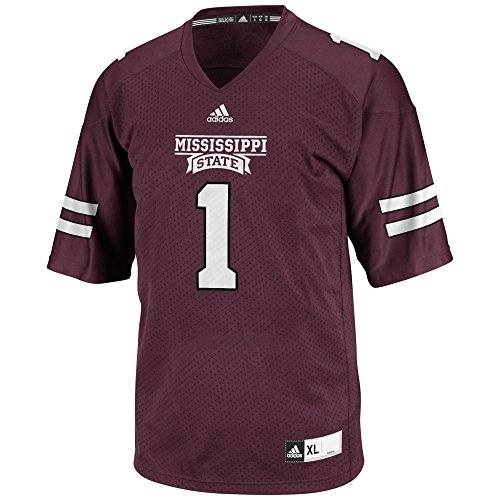 adidas NCAA Mississippi State Bulldogs Men's 3-Stripe Football Jersey, Large, Maroon