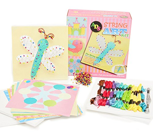 Kids String Art Kit - Craft Kit Makes 4 Large (7.75'' Square) String Art Canvases + Bonus 4 DIY Design Your Own Art Sheets (4 Large Canvas Set) by ADS