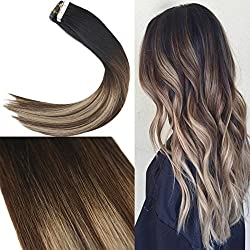 Youngsee 20inch Remy Tape in Hair Extensions Human Hair balayage Natural Black Fading to Dark Brown Mixed Ash Blonde Hair Extensions Tape in Human Hair 20pc 50Gram Per Pack