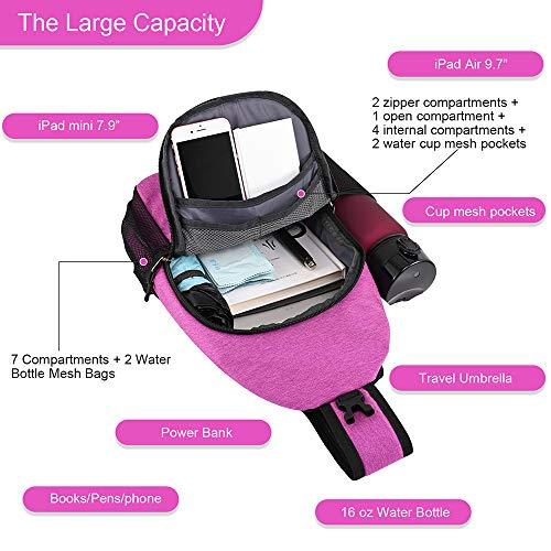 15.7 Inch Sling Backpack Sling Bag Small Backpack for Women Men Kids Travel Hiking Bag (Radiant Orchid)