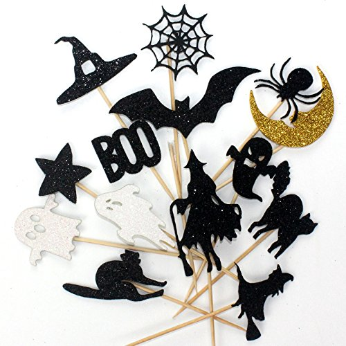 Musykrafties Shimmer Halloween 14-piece Fabic Cupcake Topper Cake Decoration Picks, Black Cat Bat Spider Web Witches Witch Hat Ghost Boo Moon Star Bat Witch