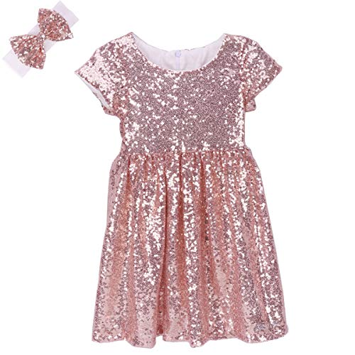 Cilucu Flower Girl Dress Baby Toddlers Sequin Dress Kids Party Dress Bridesmaid Wedding Gown Birthday Dress Rose Gold/Off White 5T-6T