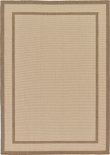 Transitional Outdoor Rug - Unique Loom Outdoor Border Collection Casual Solid Transitional Indoor and Outdoor Flatweave Beige  Area Rug (7' 0 x 10' 0)