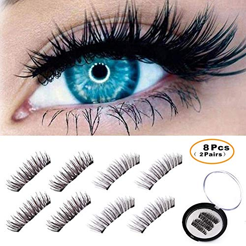BONNIE CHOICE 8 Pcs Magnetic False Eyelashes Extension, No Glue Ideal for Deep Round Eyes Triple Magnet Hand Made Fake Eye Lash Extension False Set for Natural Look (2 ()