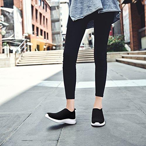 TIOSEBON Women's Walking Shoes Lightweight Breathable Flyknit Yoga Travel Sneakers 7.5 US Black by TIOSEBON (Image #5)