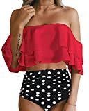 Tempt Me Women Two Piece Off Shoulder Ruffled Flounce Crop Bikini Top with Print Cut Out Bottoms Red S