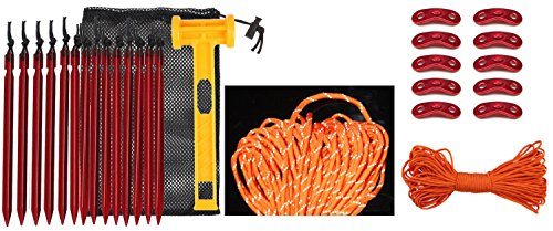 Mallet Hard Cord - SWONVI 14 packs Aluminum Tent Stakes Pegs With Hard Plastic Mallet Hammer, Reflective Cord 100 Feet , Aluminum Guyline Cord Adjuster 10 packs And Carry Bag For Camping Tent Backpacking Hiking