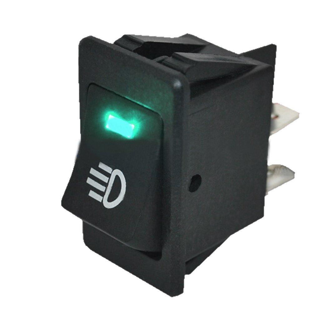 Mintice/™ 4 X 12V bleu jaune vert rouge voiture moto lumi/ère de brume bouton d/éclairage de linterrupteur /à bascule LED 4Pin