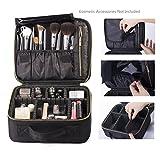 ROWNYEON Professional Portable Cosmetic Bag Makeup Artist Bag/Makeup Train Case/Portable EVA Makeup Organizer Case (Small Black)