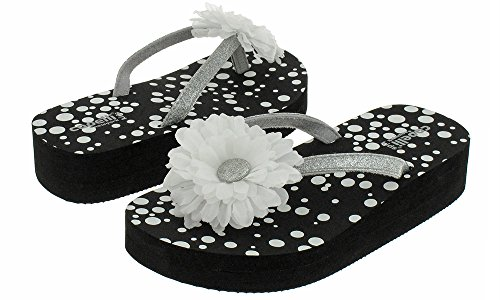 Picture of Capelli New York Glitter thong with flower on polkadot print Girls flip flops