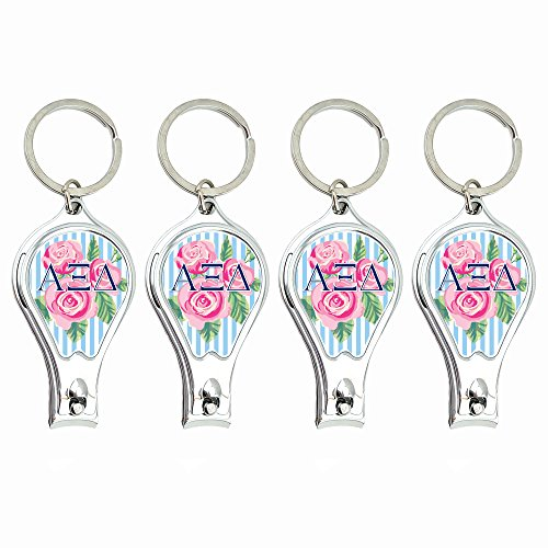 Alpha Xi Delta Nail Clippers Keychain with built-in Nail File featuring ergonomic design (4pk). Idea for sorority gifts by -