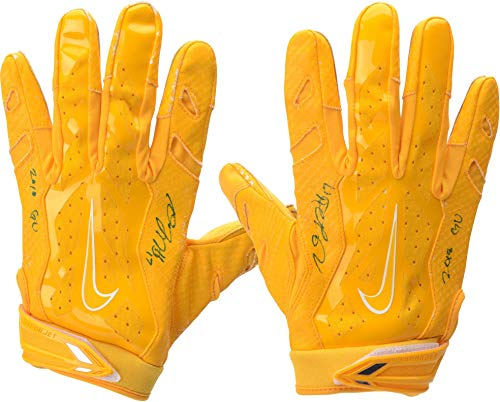 Davante Adams Green Bay Packers Autographed Game-Used Yellow Gloves from the 2018 NFL Season with