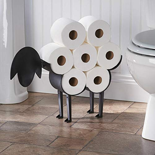AVGDeals Sheep Decorative Toilet Paper Holder - Free-Standing Bathroom Tissue Storage | Stand is Made of Attractive Black Powder-Coated Metal.