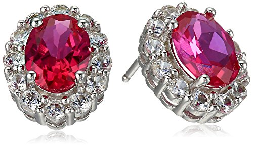 Sterling Silver, Cushion-Cut Created Ruby, and Created White Sapphire Stud Earrings
