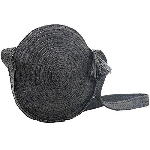 Rond Été Plage Sacs Straw Crossbody Bag Sac bandoulière pour femme, Fait de paille durable Noir