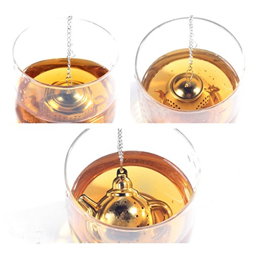 Sherry Tea Infuser Stainless Steel Loose Leaf Tea Strainer with Chain and Drip Trays Premium Tea Filter Mini TeaPot(Pack of 3) by Sherry US (Image #6)