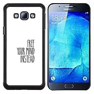 Caucho caso de Shell duro de la cubierta de accesorios de protección BY RAYDREAMMM - Samsung Galaxy A8 A8000 - LIBERA TU MENTE
